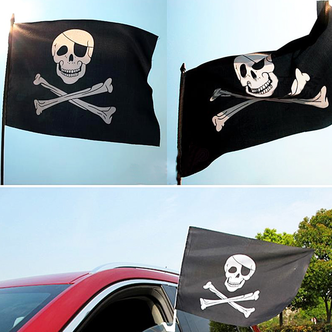 Large Skull Crossbones Pirate Flag Jolly Roger or Hanging With Grommet Top
