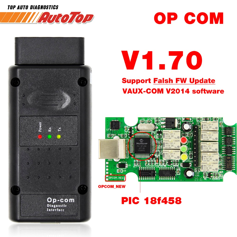 2019 OP COM for Opel V1.70 OBD2 OP-COM Car Diagnostic Scanner Real PIC18f458 OPCOM for Opel Car Diagnostic Tool Flash Firmware(China)