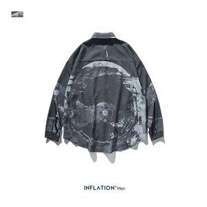 Image 5 - אינפלציה גברים סיני סגנון חולצות גברים ארוך שרוול Streetwear חולצות 2020 סתיו חדש רחב מימדים גברים מקרית חולצה 92137W