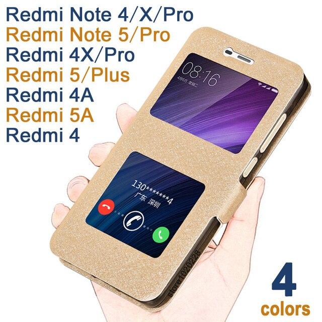 fa00391958 Xiaomi Redmi Note 5 Pro case Luxucy Leather Cover For Xiaomi Redmi 5 Plus case  Redmi 5A Window Xiaomi Redmi Note 4/4X/Pro Case