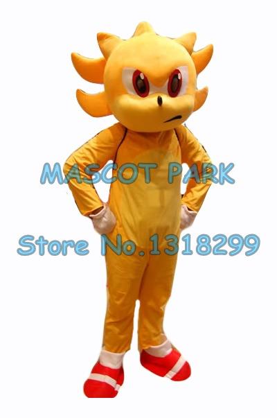 popular cartoon golden super sonic hedgehog mascot costume adult size hot sale anime cosplay costumes carnival fancy dress