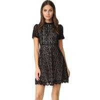 Elegante Burgundy Lace Pieghe Del Vestito delle Donne Petite Vestido Collo Alto Maniche Corte di A-Line Mini Nero Floreale Abiti di Pizzo 2017 XS
