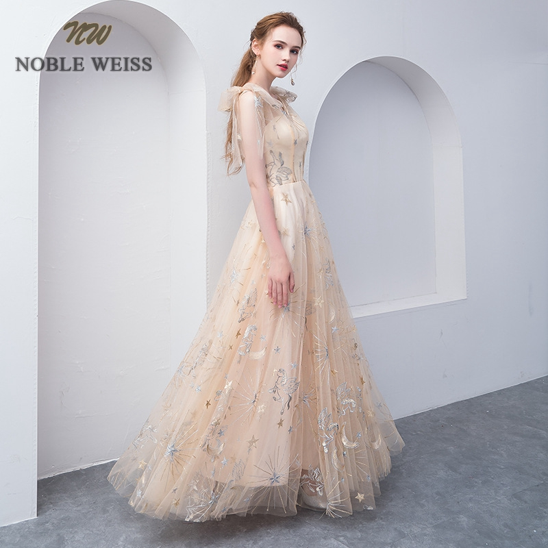 NOBLE WEISS Elegant Champagne Evening Dress A Line Prom Gowns Formal Evening Gown Lace Prom Dress