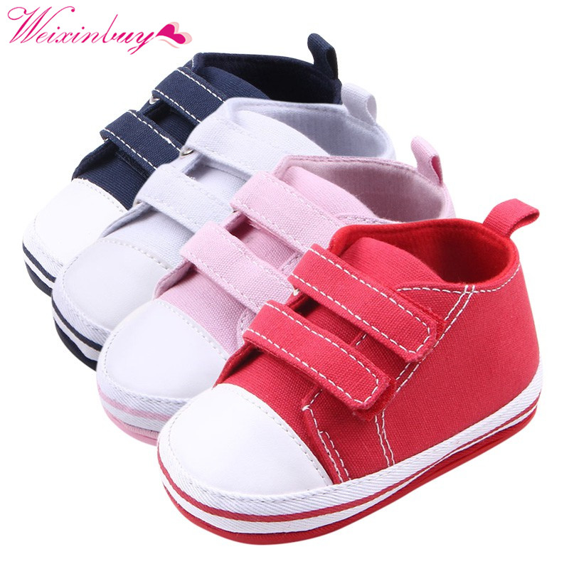 Newborn Baby Boy Girl Toddler Shoes First Walker Solid Color Stitching Comfortable Leisure Boy Girls Canvas Shoes