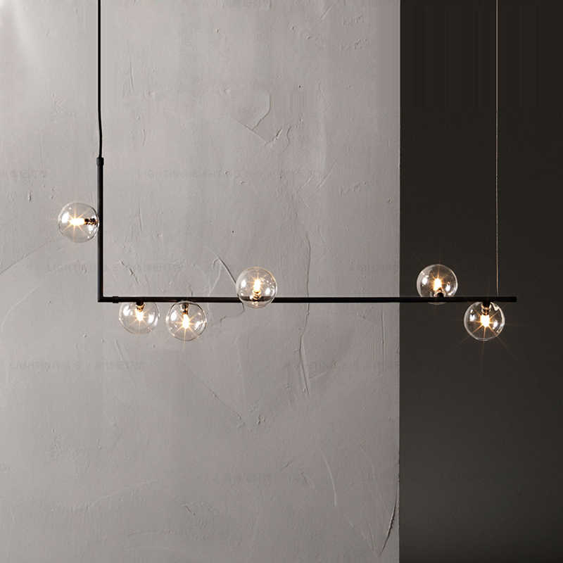 Modern minimalist chandelier lights for kitchen bar table long chandelier led design black loft glass ball hanging light Fixture
