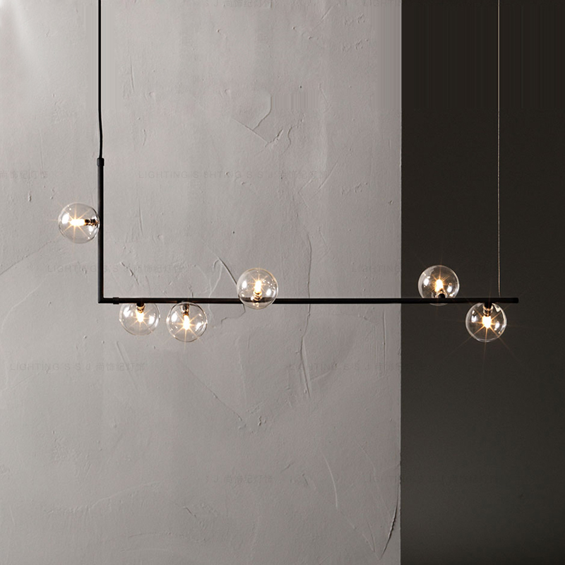 Modern minimalist chandelier lights for kitchen bar table long chandelier led design black loft glass ball