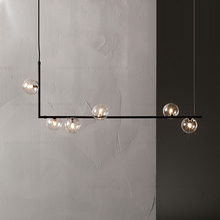 Modern minimalist chandelier lights for kitchen bar table long led design black loft glass ball hanging light Fixture