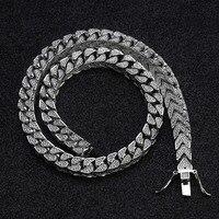 8 мм полный Iced Out квадратный кубинские цепи цепочки и ожерелья зубец Установка мужские цвета: золотистый, серебристый хип хоп Bling CZ ожерелье р