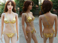 three point sexy bikinis Two Piece Patent leather boom breast swimsuit Bar show V neck Swimwear Cosplay uniform Beachwear