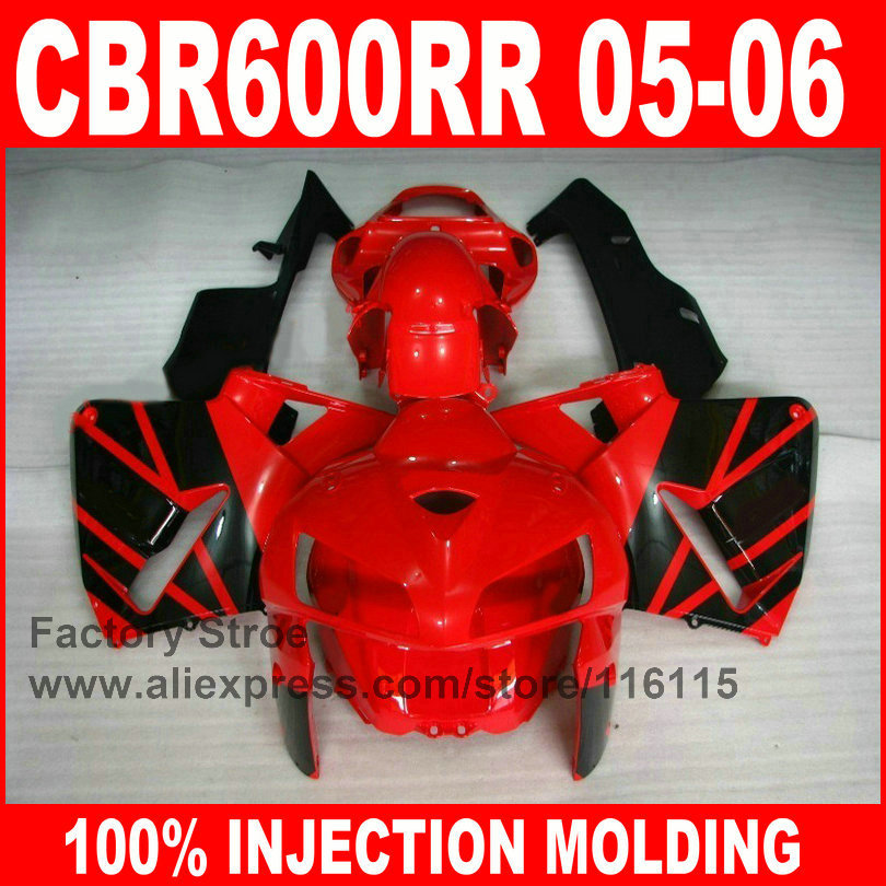 Custom free 100% Injection motorcycle parts for HONDA F5 2005 2006 CBR 600RR 05 06 CBR600RR fairings red black fairing body kits
