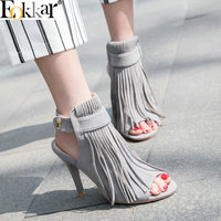 Eokkar 2019 Women Thin High Heel Pumps Sandals Flock Tassel Peep Toe Ankle Buckle Strap Ladies Shoes Gray Slingbacks Size 34 43