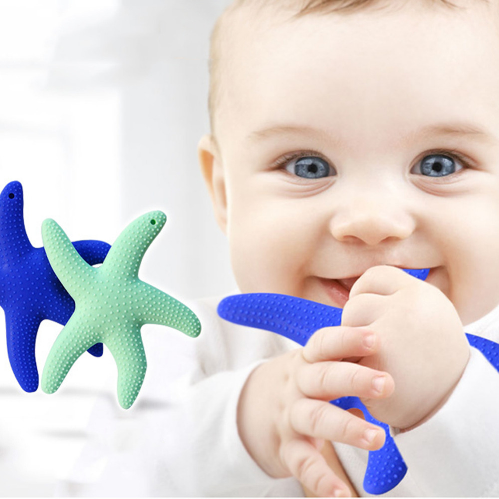 Food Grade Top Silicone Teether Starfish Shape Baby Teethers  Baby Dental Care Toothbrush Training for Baby Care Supplies