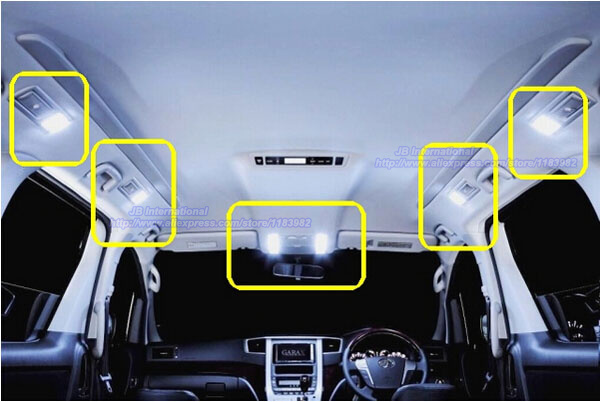 Car LED Interior Light bar Kit Xenon white for 2008 2009 2010 2011 2012 Toyota Alphard Vellfire,Map+Rear Second+Third Room Light car rear trunk security shield shade cargo cover for nissan qashqai 2008 2009 2010 2011 2012 2013 black beige