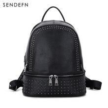 Sendefn натуральная кожа рюкзак большой емкости заклепки черная сумка женская Повседневная рюкзак для девочек-подростков школа Дорожные Сумки