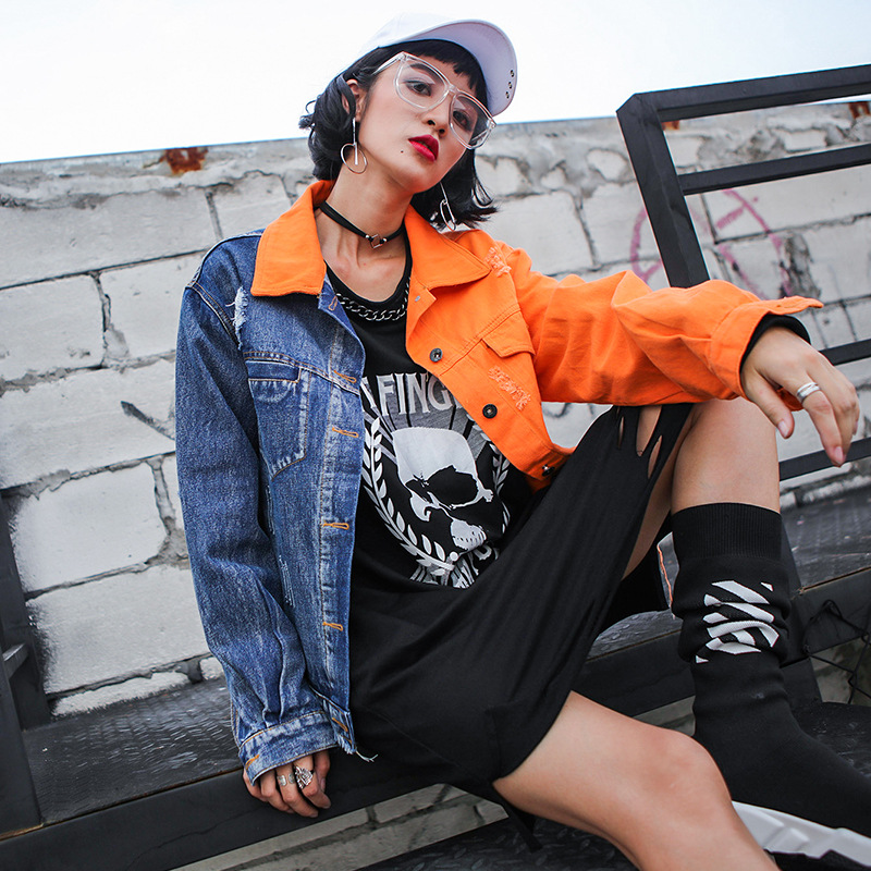 Harajuku Veste Pour Décontracté Lâche Femme Vêtements Camel Trou Jean Imprimer Hop Streetwear Hip Spliced Denim Manteau Déchiré Mode Femmes n8w0OvmN