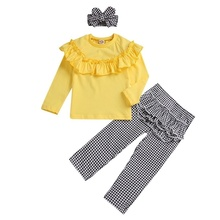 цена 2018 New Fashion Hot Sale 3Pcs Toddler Baby Girls Outfits Clothes Kids Long Sleeves Top +Plaid Long Pants +Headband Sets