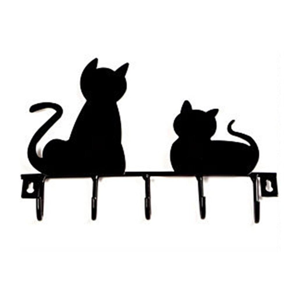 Edelstahl Katze Verziert Schmiedeeisen Haken mit 5 Haken Wand Decor Hut Mantel Kleidung Kleiderbügel Lagerung Rack Schlüssel Halter