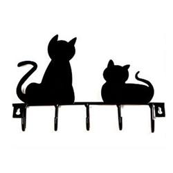 Stainless Steel Cat Decorated Wrought Iron Hook with 5 Hooks Wall Decor Hat Coat Clothes Hangers Storage Rack Key Holder