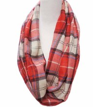 Free Shipping 2015 New Fashion Brand Tartan British Red Blue Beige Coffee Plaid Checked Infinity Scarves Snood For Women/Ladies