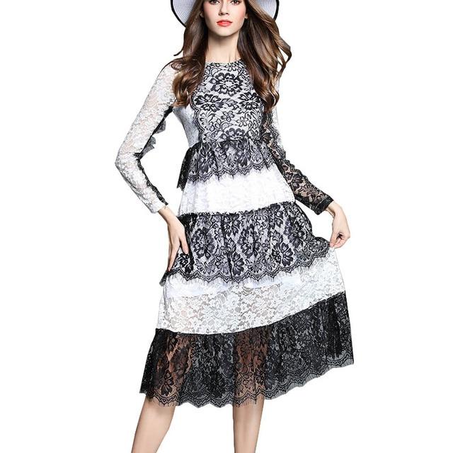 68cee1cc2f2 Summer 2017 Runway Dress Luxury Woman Black White Eyelash LaceElegant Party  Dress Dantel Elbise vestidos de