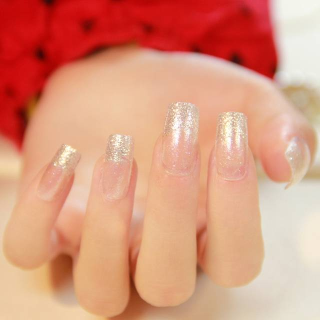 Online Shop Glitter Silver Artificial Fake Nails Hottie Clear French
