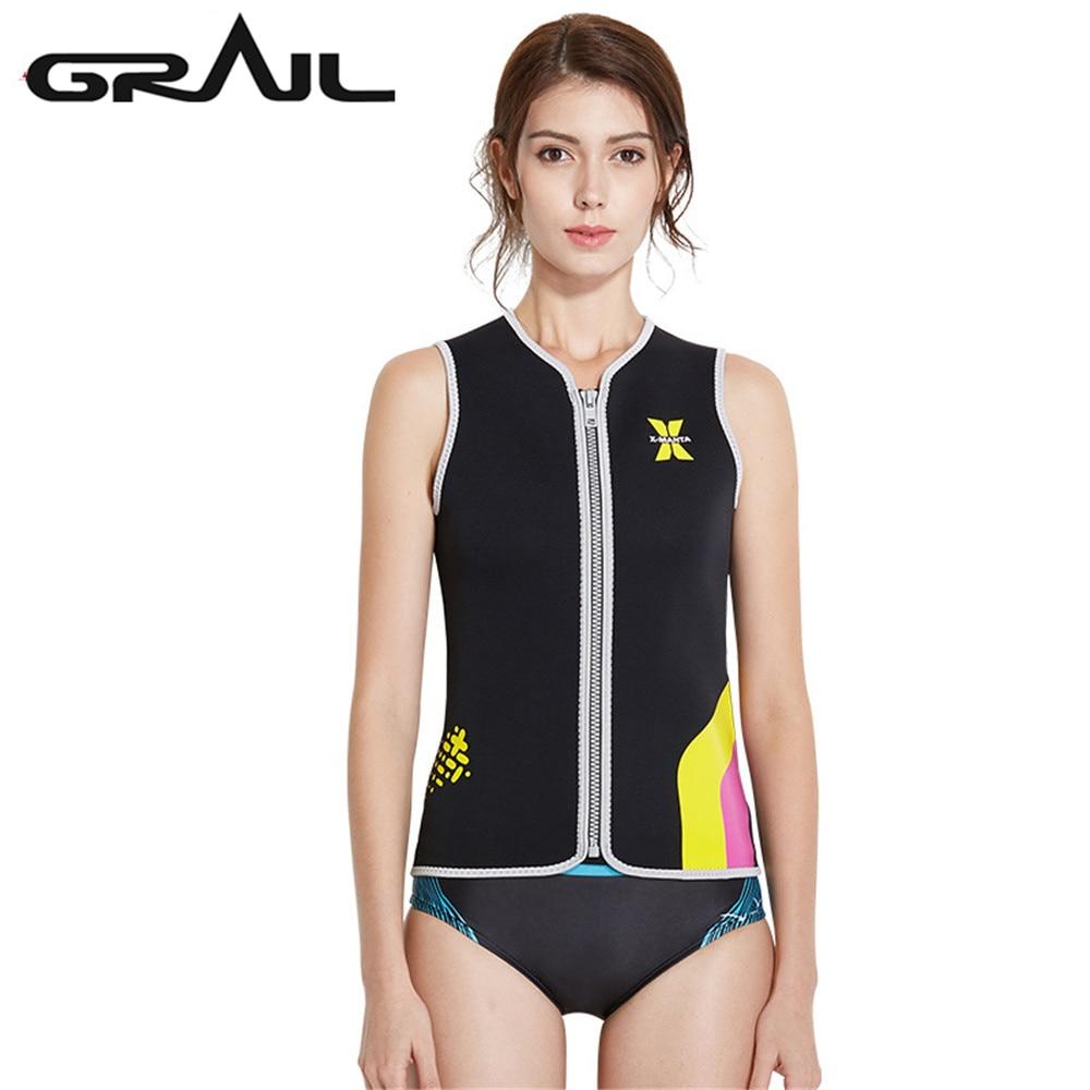 GRAIL 3 MM néoprène épaisseur de plongée costumes de plongée femmes Zipper Up Surf plongée combinaisons humides en Nylon gilet combinaisons WS-18435