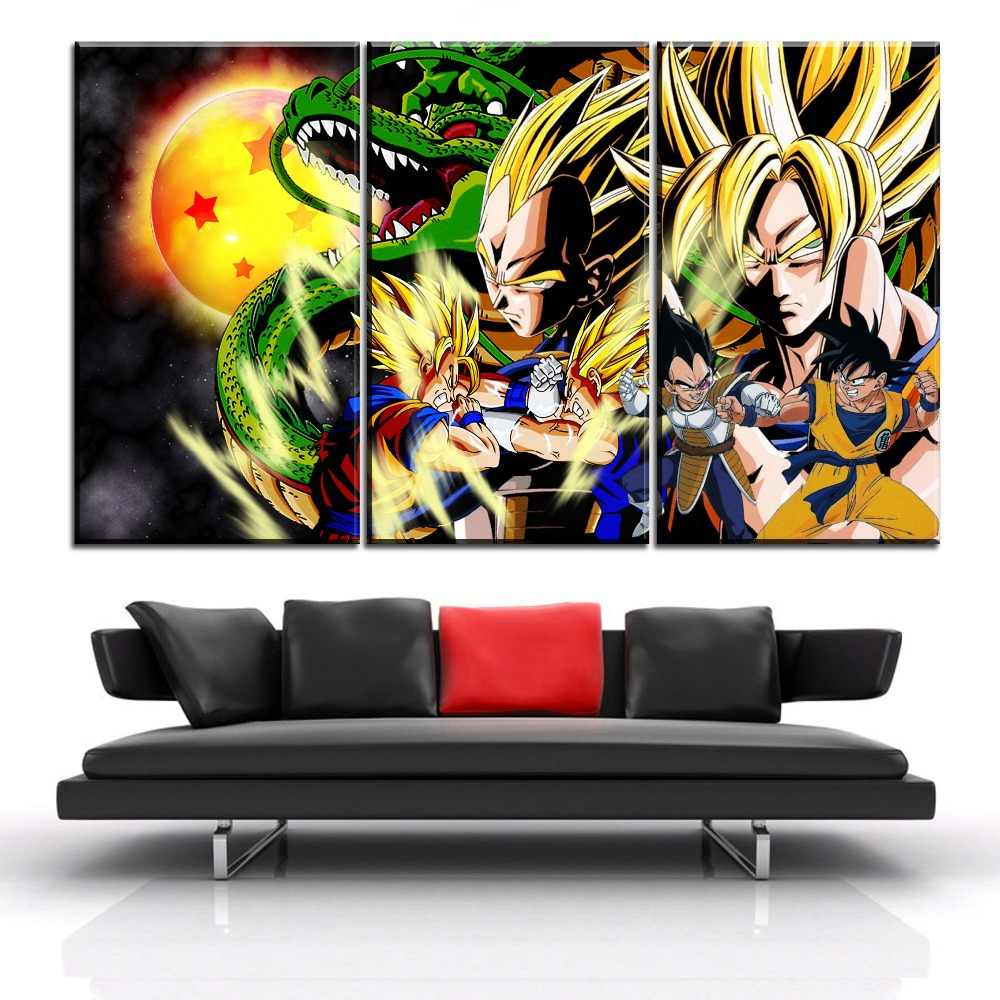 Canvas painting home decor 3 piece goku vs vegeta picture for living room hd print anime