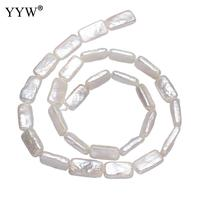 Natural Cultured Baroque Freshwater Pearl Beads Rectangle White Bead Charms Jewelry Making Beads Making 17 18mm