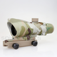 Hunting Riflescope Tactical ACOG 4X32 Real Fiber Source Red Illuminated Rifle Scope Camouflage