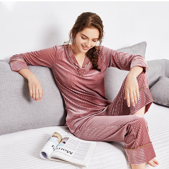 Autumn and Winter Women Pyjamas Sets Thick Warm Coral Velvet Suit Flannel Long Sleeve Female Solid Pants Sleepwear Winter Long