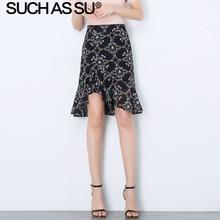 New Korean Chiffon Floral Skirt Women 2019 Summer Black Green Print High Waist Asymmetry Skirt S-3XL Plus Size Slim Ruffle Skirt chic women s ethnic print high waist skirt