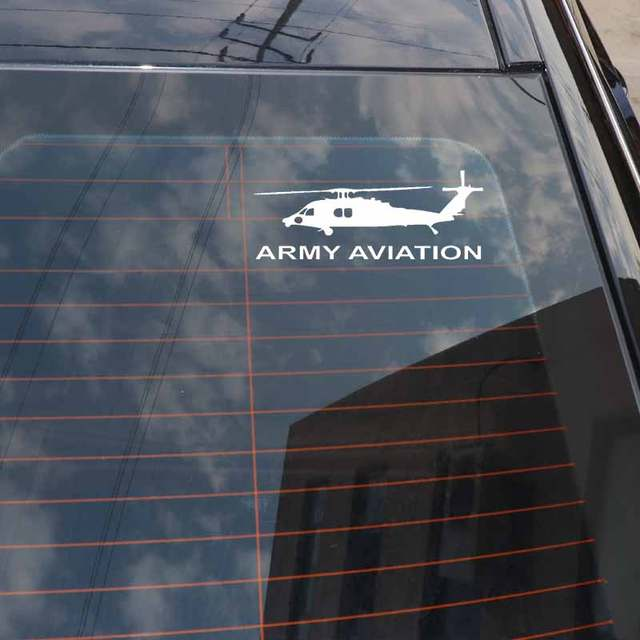 US $1 11 40% OFF|YJZT 18CM*7CM Fashion ARMY AVIATION Graphical Vinyl Car  Sticker Decal Black Silver C11 2136-in Car Stickers from Automobiles &