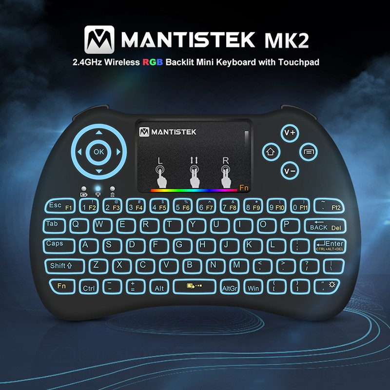 2.4GHz Mini Wireless Keyboard RGB Backlit Backlight Fly Air Mouse Remote Control Touchpad for Android TV Box Notebook Tablet PC