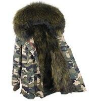 MaoMaoKong Winter Jacket Coat Women Outwear 100 Real Raccoon Fur Collar Asymmetrical Loose Leopard Long Black