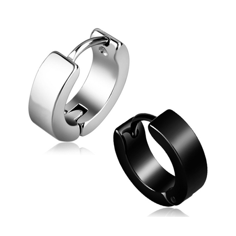 1pair Anti allergic titanium steel earring punk rock Stud Earrings Men Fashion Jewelry women small circle - Earrings For Men