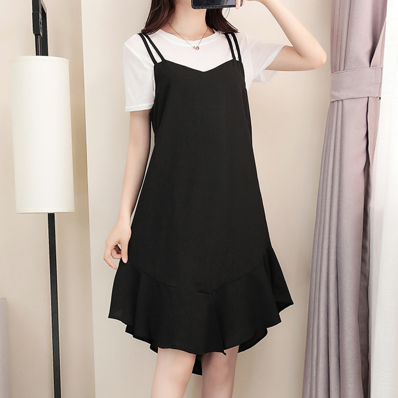 New women's solid color sleeveless suspender dress summer casual loose large black dress v008