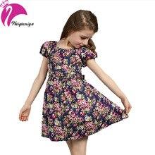 Новый 2016 Европейский Стиль Новорожденных Девочек Одеваться Летом Хлопка С Коротким Рукавом Цветы Цветочные Платья Vestido Infantil детская Одежда