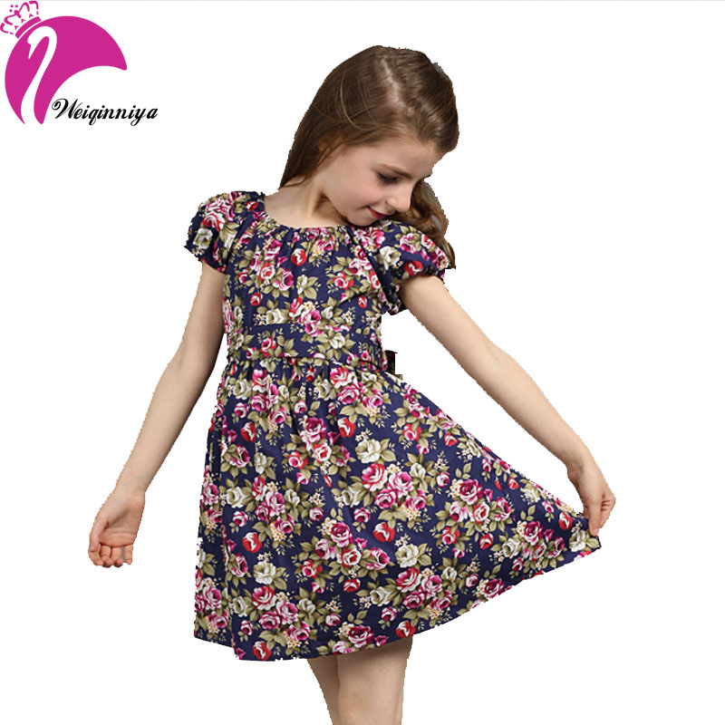 New 2018 European Style Baby Girls Dress Summer Cotton Short-Sleeve Flowers Floral Dresses Vestido Infantil Print Dress For Girl sweet style short sleeve scoop collar see through letter print dress for women