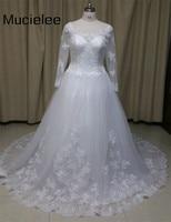 Real Photo Long Sleeve Wedding Dress See Through Lace Back Vintage WEdding Dresses 2016 Robe De