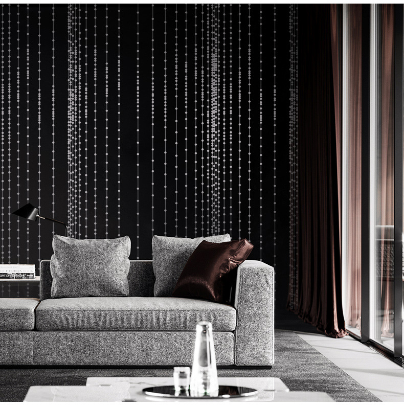 Black Red Bead Curtains Wallpaper Waterproof Background for Living Room PVC Vinyl Wall Paper Roll Wallcoverings 10Mx53CM 10mx53cm solid color wallpaper waterproof pvc vinyl tile wall paper for living room bathroom background wall papel de parede