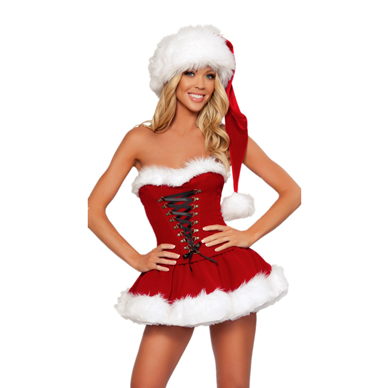 2018 New Arrival Plus Size Adult Costume Santa Claus Suit Christmas Costumes For Women Girl Red Dress+Hat Set Christmas Set