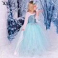 2016 de Otoño de Manga Larga Vestido de Anna Y Elsa Snow Queen traje Del Vestido Del Tutú Vestido de Malla Vestidos Para Niñas Princesa Chilsren ropa