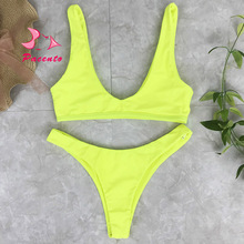 Pacento 3 Colors Fluorescent Yellow High Cut Bikini Brazilian Solid Women's Swimsuit Sexy Swimwear 2017 New Beach Wear Plavky XL