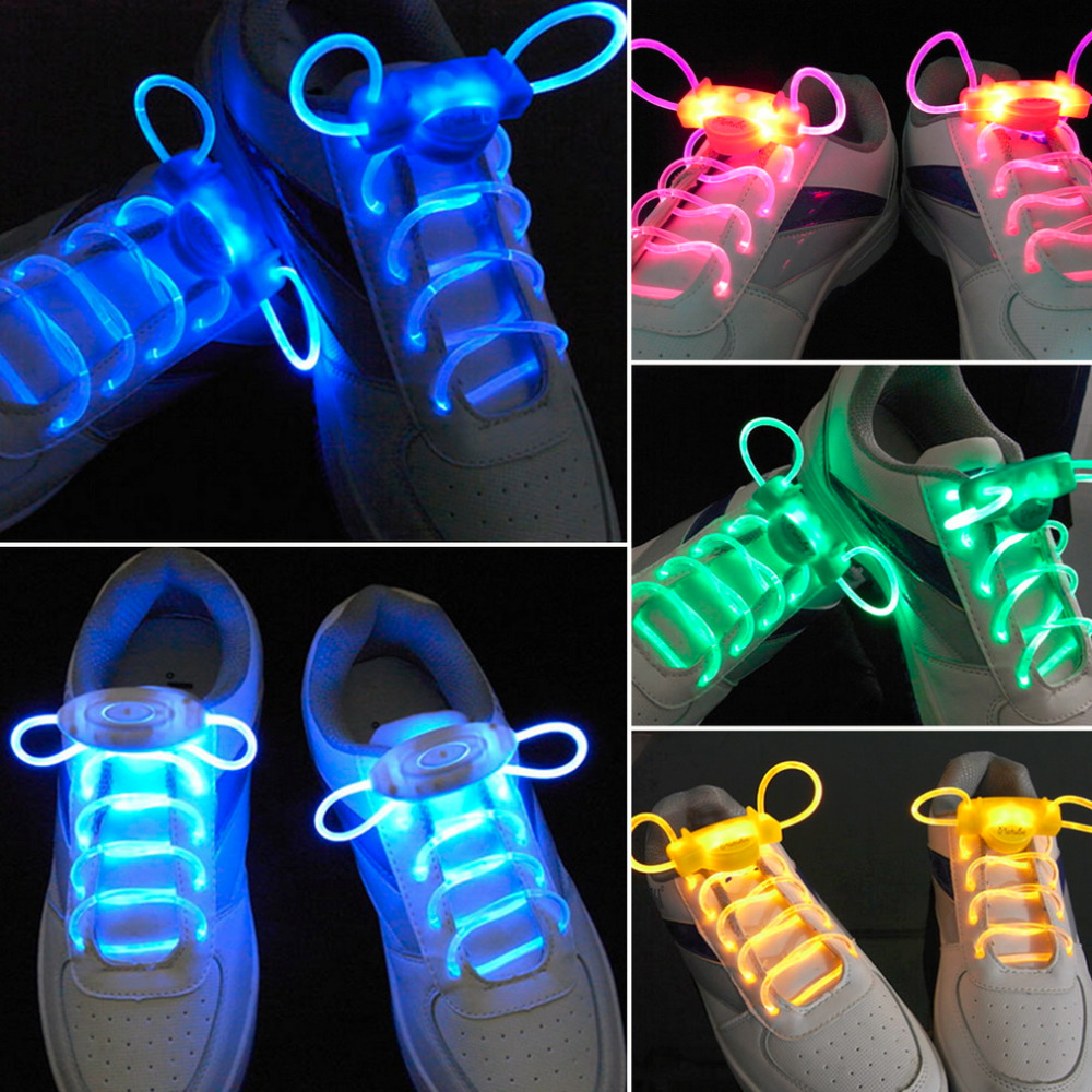 LED Sport Shoe Laces Flash Light Glow Stick Strap Shoelaces Disco Party Club 4 Colors 2017 Hot Selling