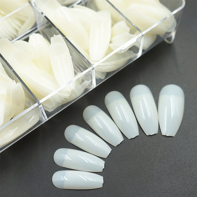 500Pcs/bag Coffin Nails Long Ballerina Nail Tips Square Head French Fake False Nails ABS Artificial 10 Sizes Nature Transparent  5
