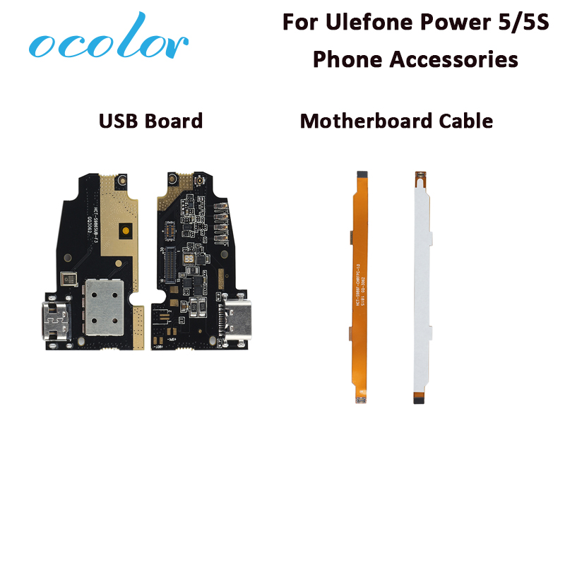 Ocolor For Ulefone Power 5 USB Charge Board Motherboard Flex Cable Repair For Ulefone Power 5S USB Board Motherboard Cable