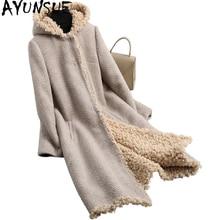AYUNSUE Sheep Shearing Wool Coat Hooded Real Fur Coat Long Winter Fur Jacket Women Natural Lamb Fur Liner Plus Size 6XL WYQ1871