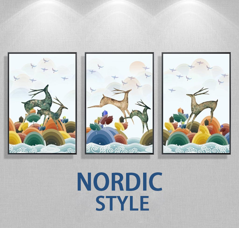 Nordic Minimalist Style Cartoon Birds Deers Running Animal Poster Canvas Wall Kids Room Home Decoration Combined Poster
