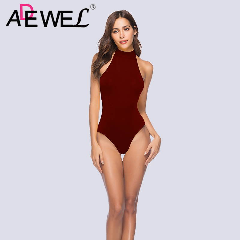 ADEWEL Sexy Backless Lace Up Women Bodysuit Elegant Night Club Summer Playsuits Summer Skinny Zipper Hollow Out Woman Clothes