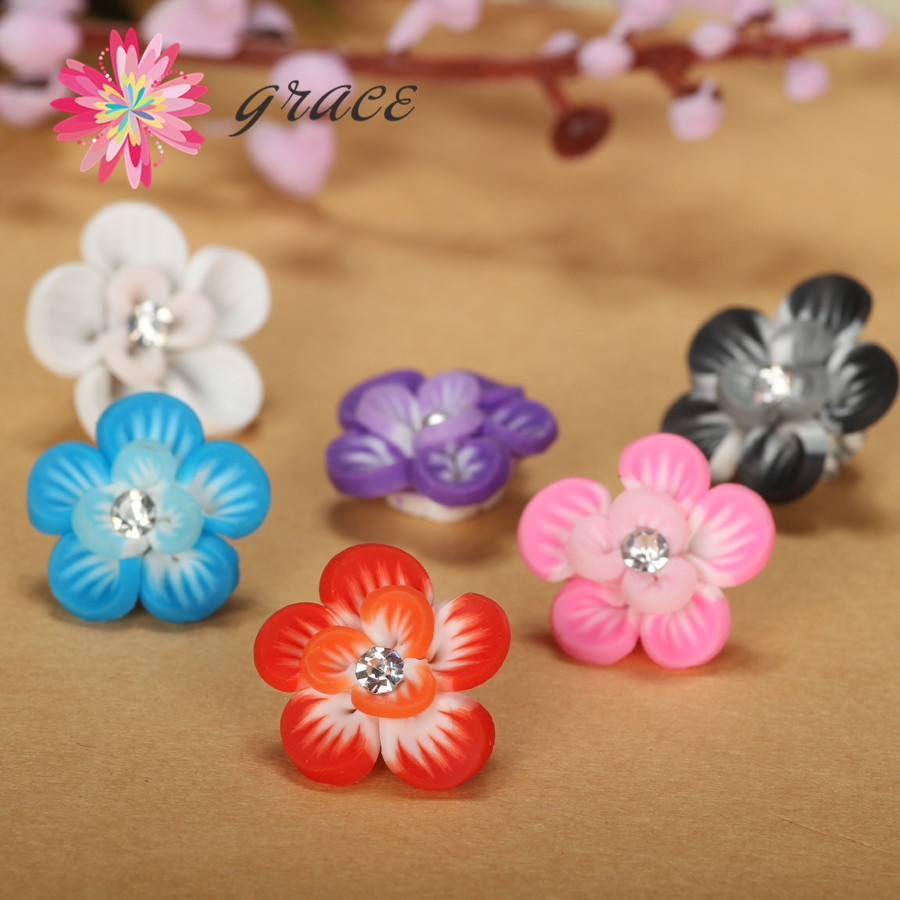 15pc Lot 15mm Handmade Polymerclay Fimo Colorful Flower Beads Leaf